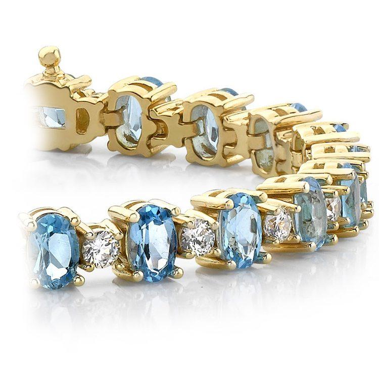 Blue Topaz & Diamond Gem Bracelet In Yellow Gold (16 Ctw) | 01