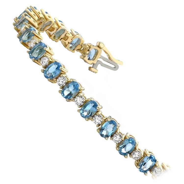 Blue Topaz & Diamond Gem Bracelet In Yellow Gold (16 Ctw) | 02