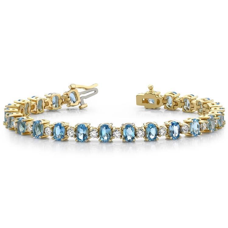 Blue Topaz & Diamond Gem Bracelet In Yellow Gold (16 Ctw) | 03