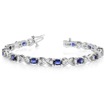 Twisted Diamond & Blue Sapphire Oval Gem Bracelet in White Gold (9 ctw) | Thumbnail 01