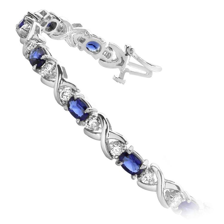 Twisted Diamond & Blue Sapphire Oval Gem Bracelet in White Gold (9 ctw) | 02