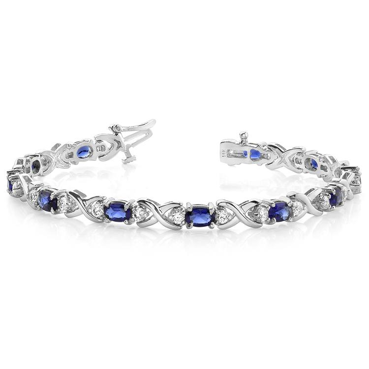 Twisted Diamond & Blue Sapphire Oval Gem Bracelet in White Gold (9 ctw) | 03