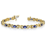 Twisted Diamond & Blue Sapphire Oval Gem Bracelet in Yellow Gold (9 ctw) | Thumbnail 01