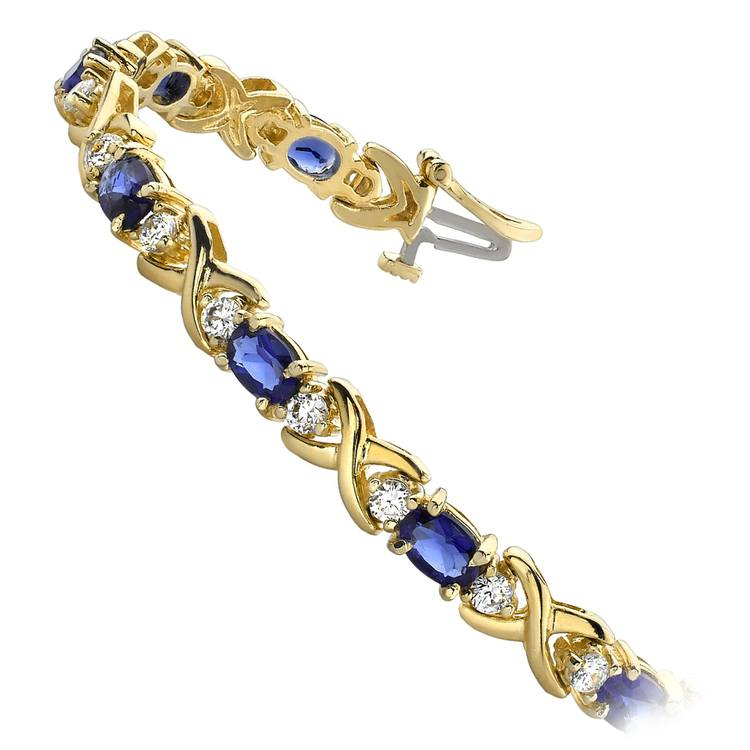 Twisted Diamond & Blue Sapphire Oval Gem Bracelet in Yellow Gold (9 ctw) | 02
