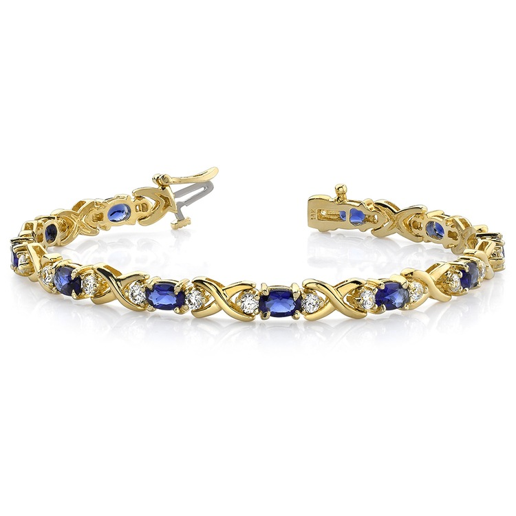 Twisted Diamond & Blue Sapphire Oval Gem Bracelet in Yellow Gold (9 ctw) | 03