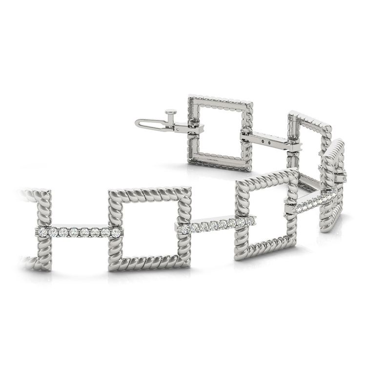Twisted Square Diamond Bracelet in White Gold (1 ctw) | 01