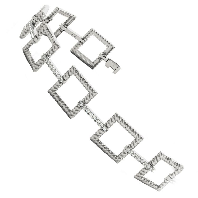 Twisted Square Diamond Bracelet in White Gold (1 ctw) | 02
