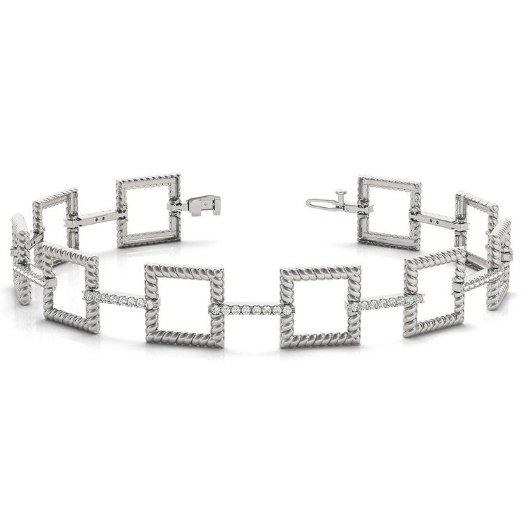 Twisted Square Diamond Bracelet in White Gold (1 ctw) | 03