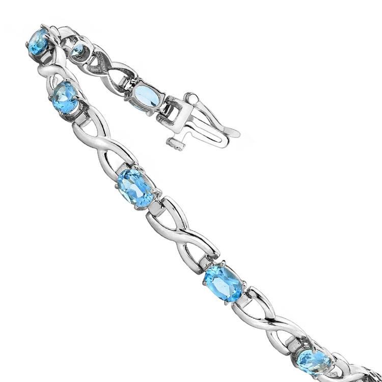 Twisted Swiss Blue Topaz Oval-Cut Gem Bracelet In White Gold (5 Ctw) | 02