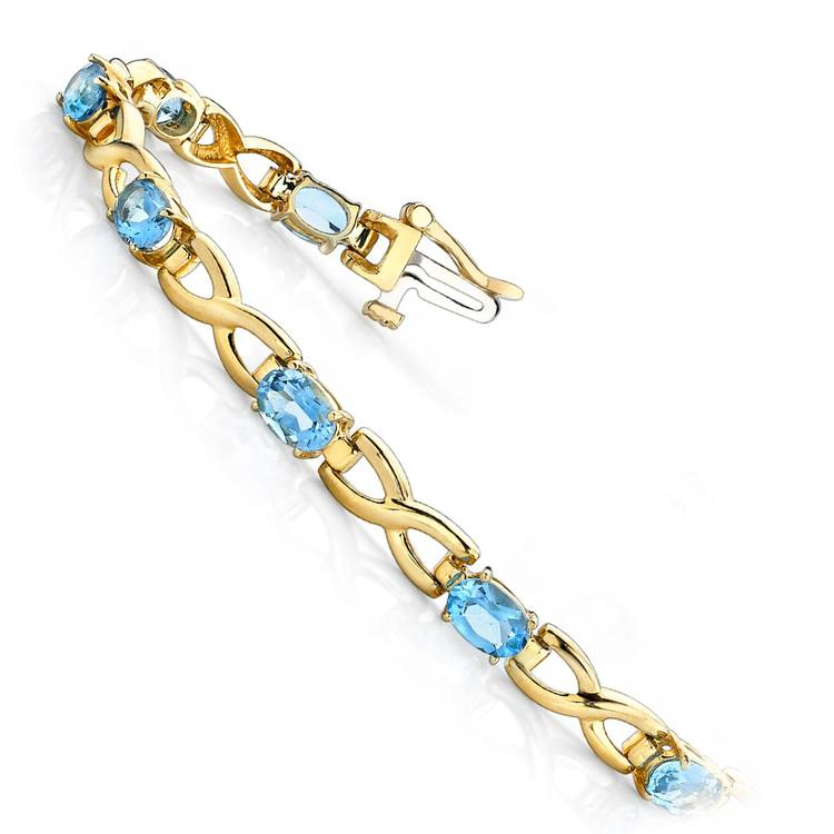 Twisted Swiss Blue Topaz Oval-Cut Gem Bracelet in Yellow Gold (5 ctw) | 02