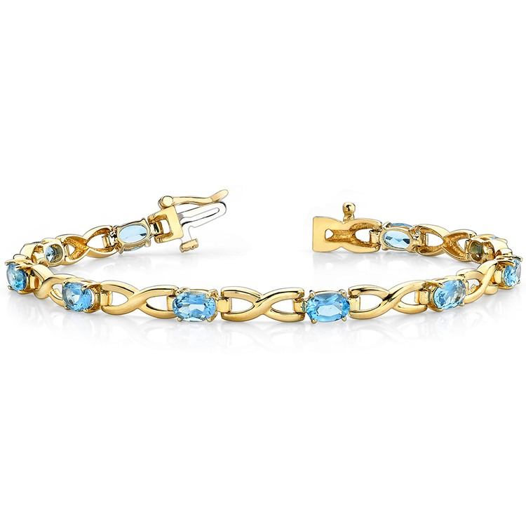 Twisted Swiss Blue Topaz Oval-Cut Gem Bracelet in Yellow Gold (5 ctw) | 03