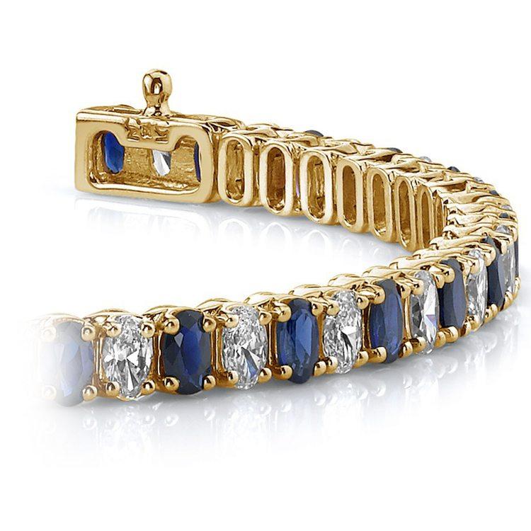 Vertical Oval Sapphire & Diamond Gemstone Bracelet in Yellow Gold (15 ctw) | 01