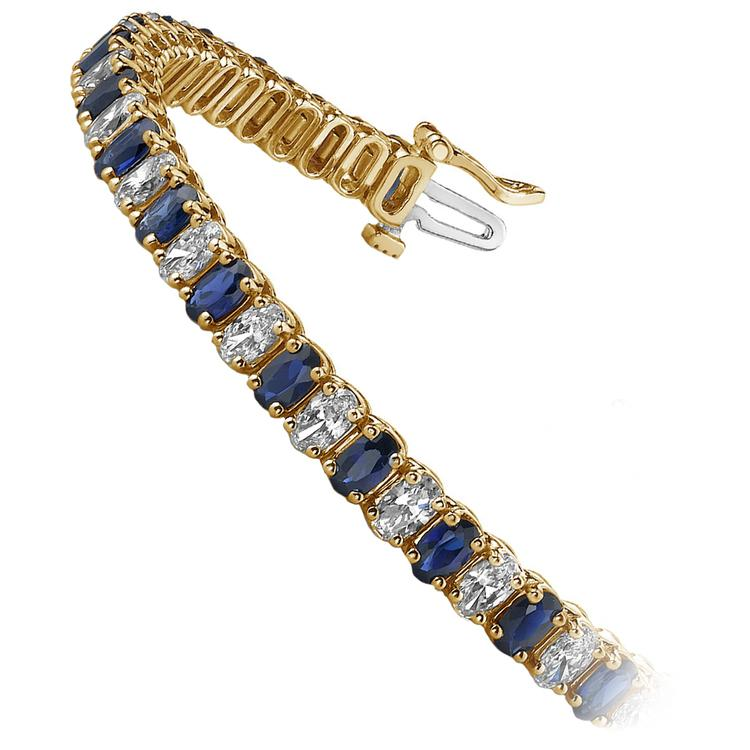 Vertical Oval Sapphire & Diamond Gemstone Bracelet in Yellow Gold (15 ctw) | 02