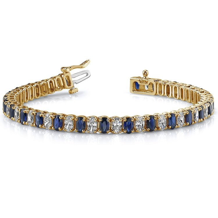 Vertical Oval Sapphire & Diamond Gemstone Bracelet in Yellow Gold (15 ctw) | 03