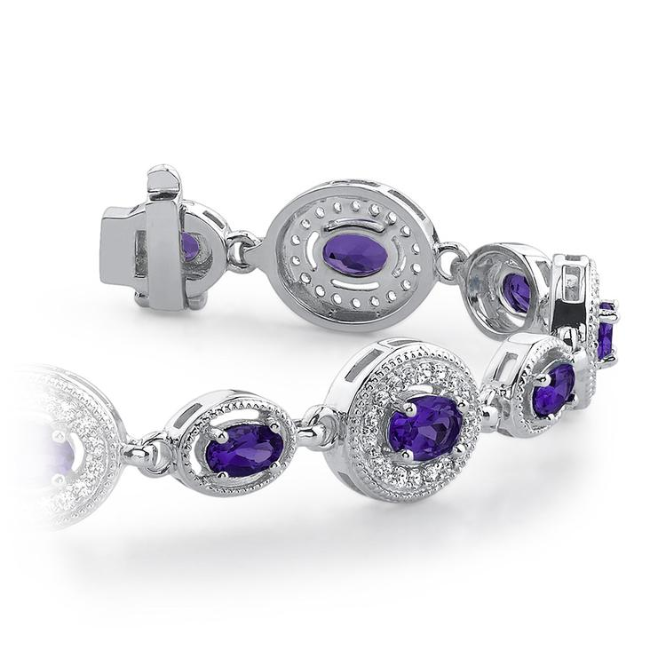Vintage Diamond & Amethyst Gemstone Bracelet in White Gold (6 ctw)   01