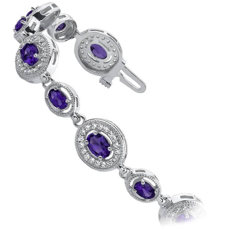 Vintage Diamond & Amethyst Gemstone Bracelet in White Gold (6 ctw)   02