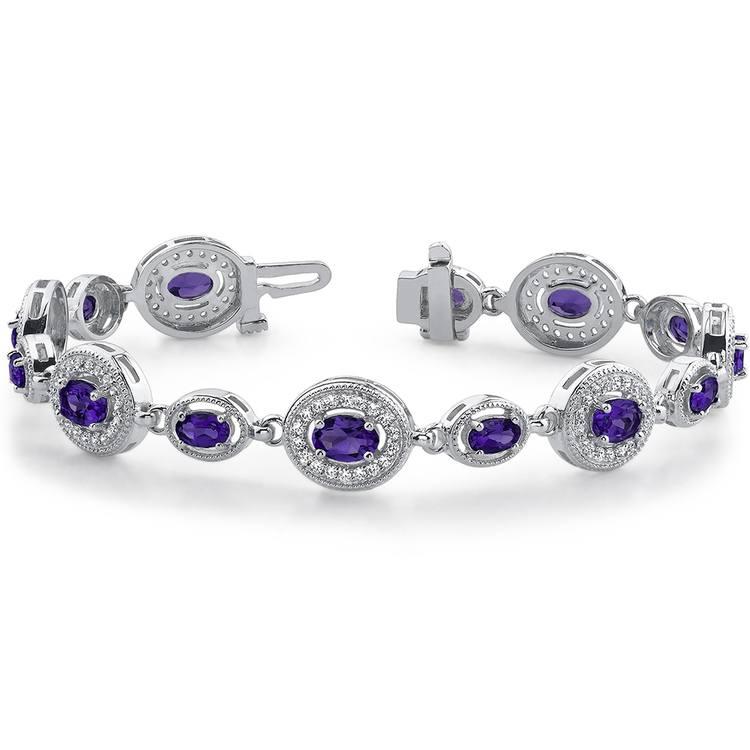 Vintage Diamond & Amethyst Gemstone Bracelet in White Gold (6 ctw)   03