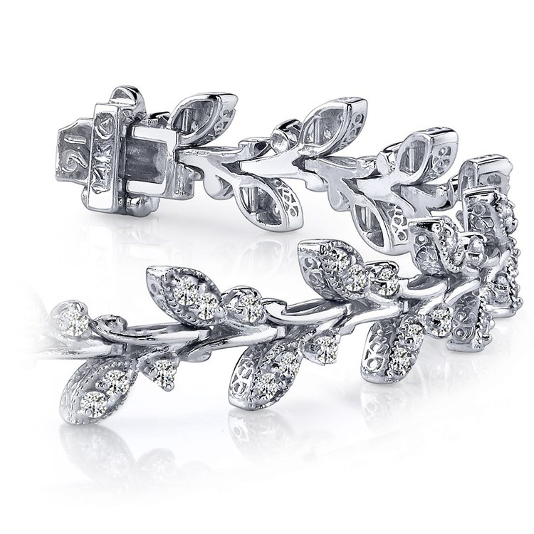 Vintage Leaf Diamond Bracelet in White Gold (2 ctw) | 01