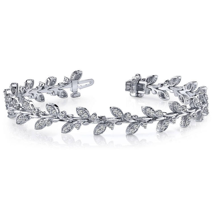 Vintage Leaf Diamond Bracelet in White Gold (2 ctw) | 03