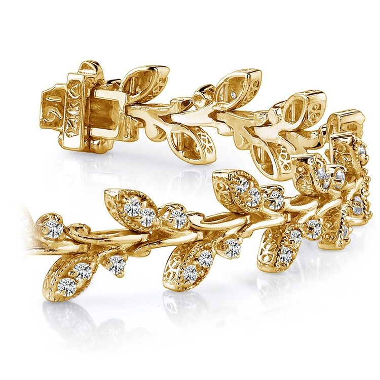 Vintage Leaf Diamond Bracelet in Yellow Gold (2 ctw) | 01