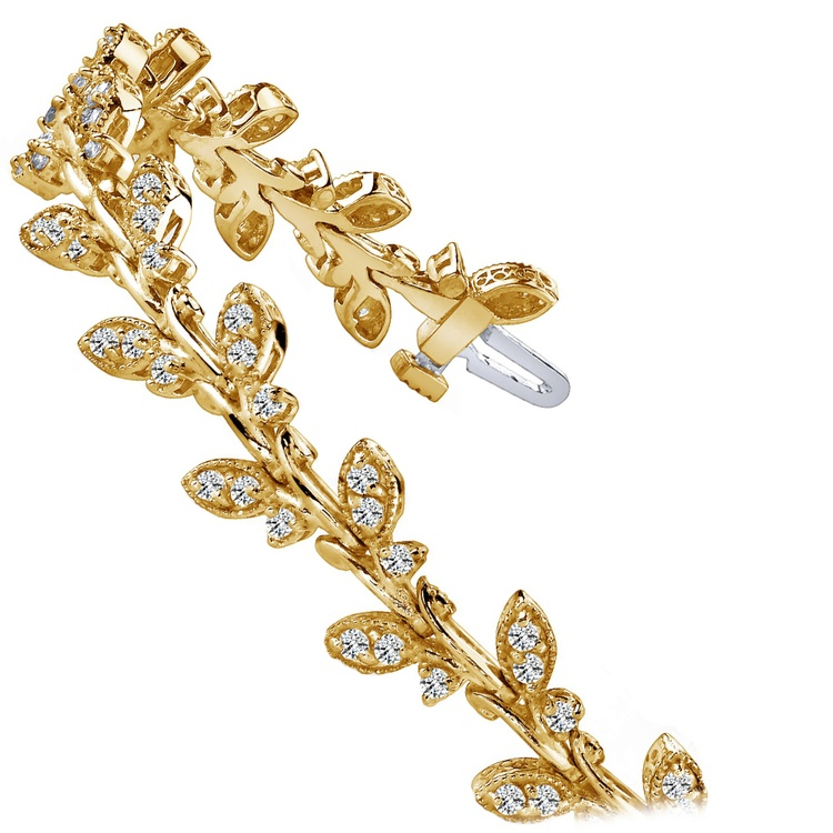 Vintage Leaf Diamond Bracelet in Yellow Gold (2 ctw) | 02