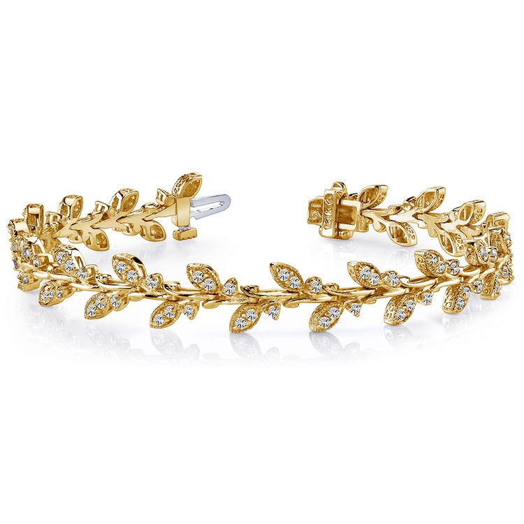 Vintage Leaf Diamond Bracelet in Yellow Gold (2 ctw) | 03