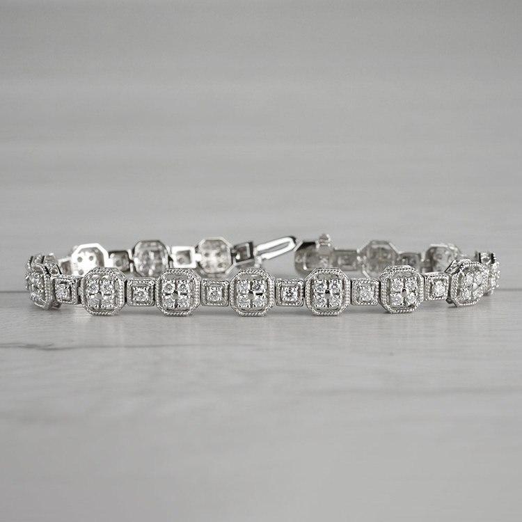 Vintage Milgrain Diamond Bracelet in White Gold (3 ctw)   04