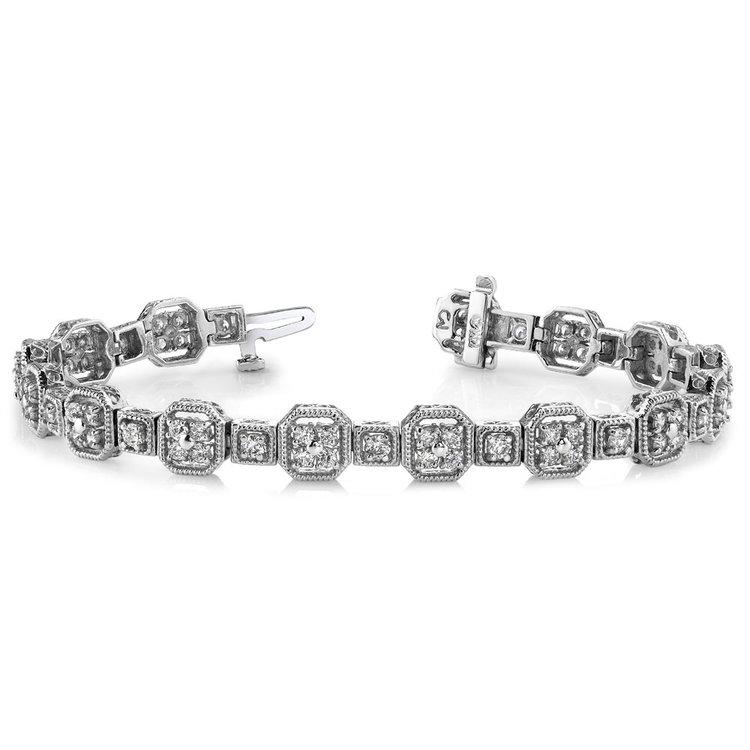 Vintage Milgrain Diamond Bracelet in White Gold (2 ctw) | 03