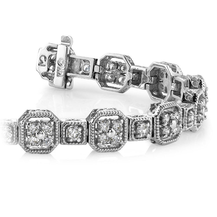 Vintage Milgrain Diamond Bracelet in White Gold (2 ctw) | 01