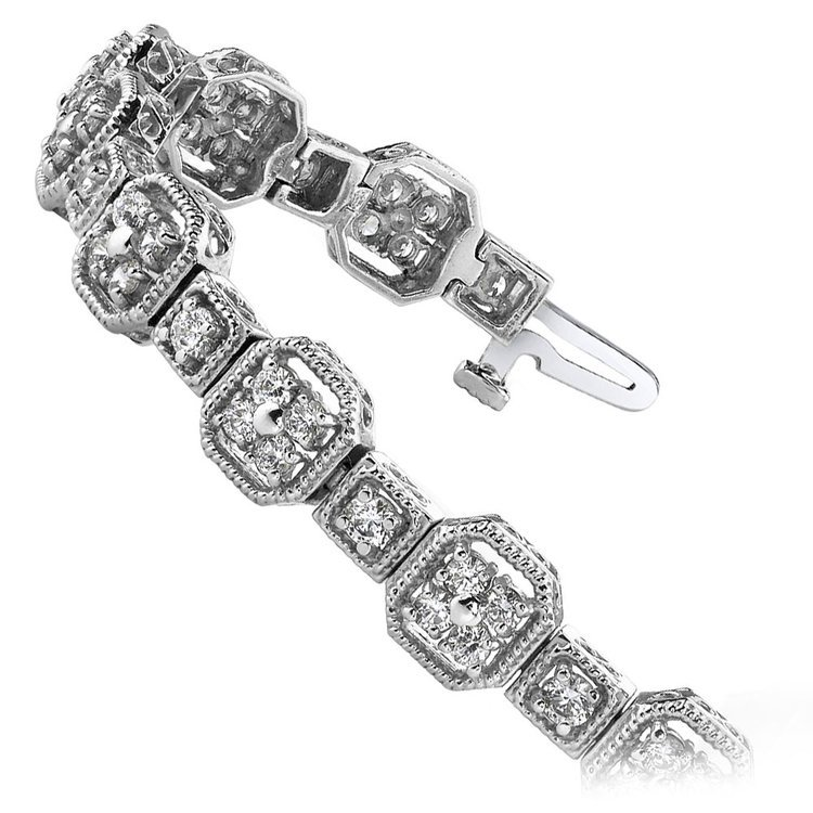 Vintage Milgrain Diamond Bracelet in White Gold (2 ctw) | 02