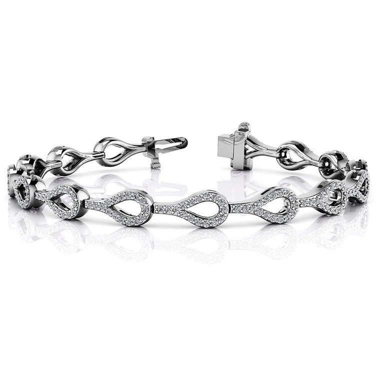 Water Drop Diamond Bracelet in White Gold (1 1/2 ctw) | 03