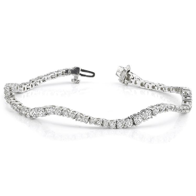 Journey Wave Diamond Bracelet in White Gold (4 ctw) | 03