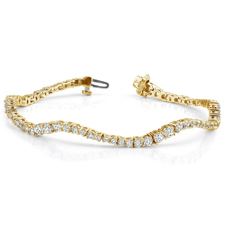 Journey Wave Diamond Bracelet in Yellow Gold (4 ctw) | 03
