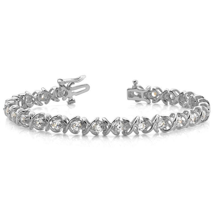 XO Diamond Bracelet in White Gold (1 ctw) | 03