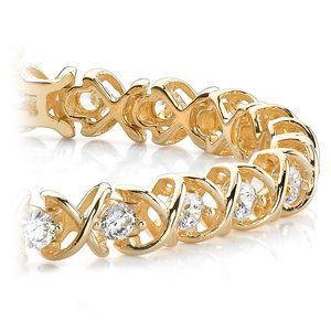 Xo Diamond Bracelet In Yellow Gold 1 Ctw