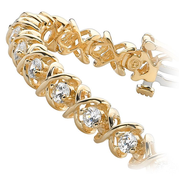 Xo Diamond Bracelet In Yellow Gold 1 Ctw 02