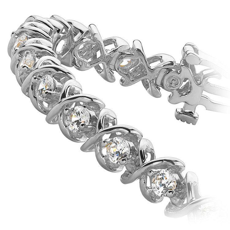 XO Diamond Bracelet in White Gold (2 ctw)   02