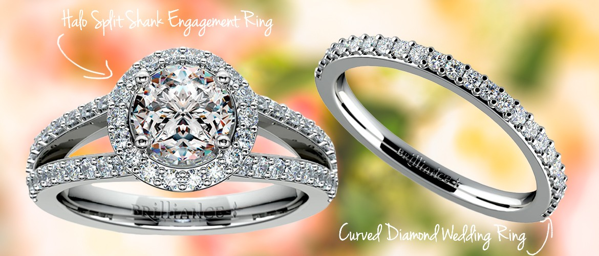 curved wedding band and split shank engagement ring pair