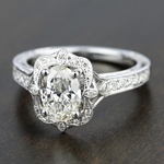 Antique Lyria Bloom Halo Diamond Engagement Ring in White Gold by Parade | Thumbnail 04