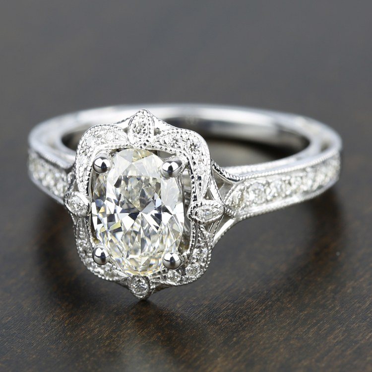 Antique Lyria Bloom Halo Diamond Engagement Ring in White Gold by Parade | 03