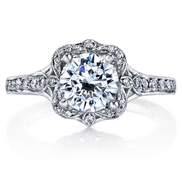Antique Lyria Bloom Halo Diamond Engagement Ring in White Gold by Parade | 02