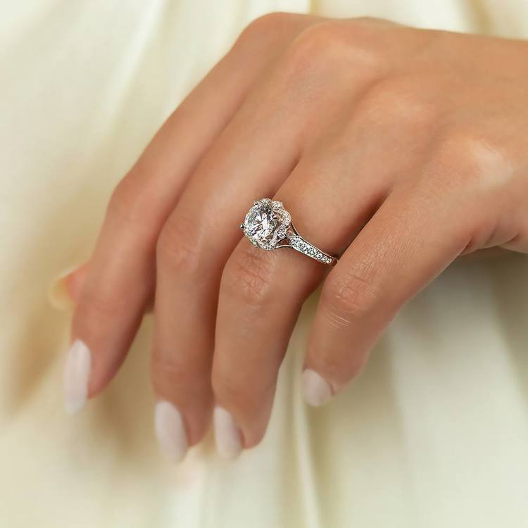 Antique Lyria Bloom Halo Diamond Engagement Ring in White Gold by Parade   03