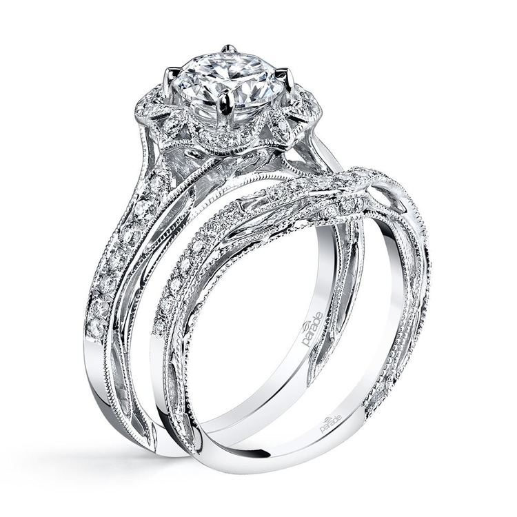 Antique Lyria Bloom Halo Diamond Engagement Ring in White Gold by Parade | 05