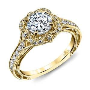 Antique Lyria Bloom Halo Diamond Engagement Ring in Yellow Gold by Parade