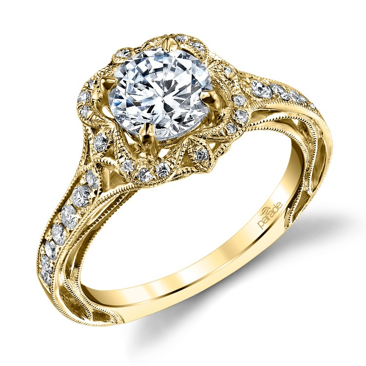 Antique Lyria Bloom Halo Diamond Engagement Ring in Yellow Gold by Parade | 01