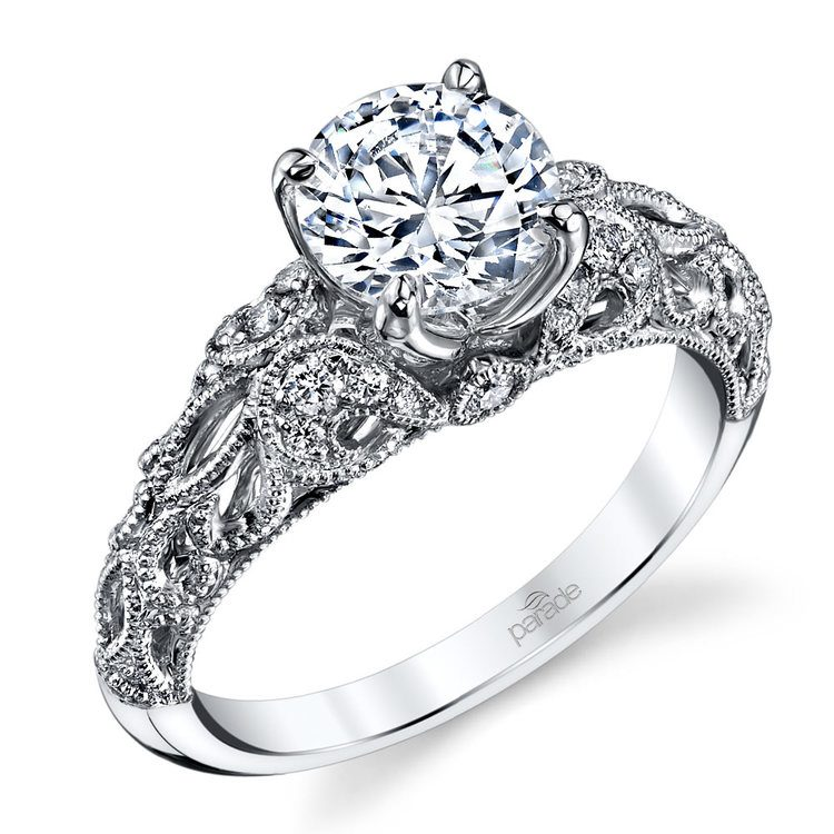 Antique Windowed Diamond Engagement Ring with Lyria Crown in White Gold by Parade | 01
