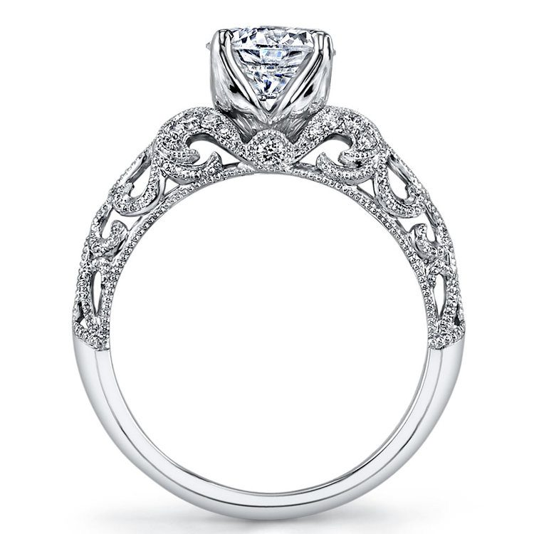 Antique Windowed Diamond Engagement Ring with Lyria Crown in White Gold by Parade | 02