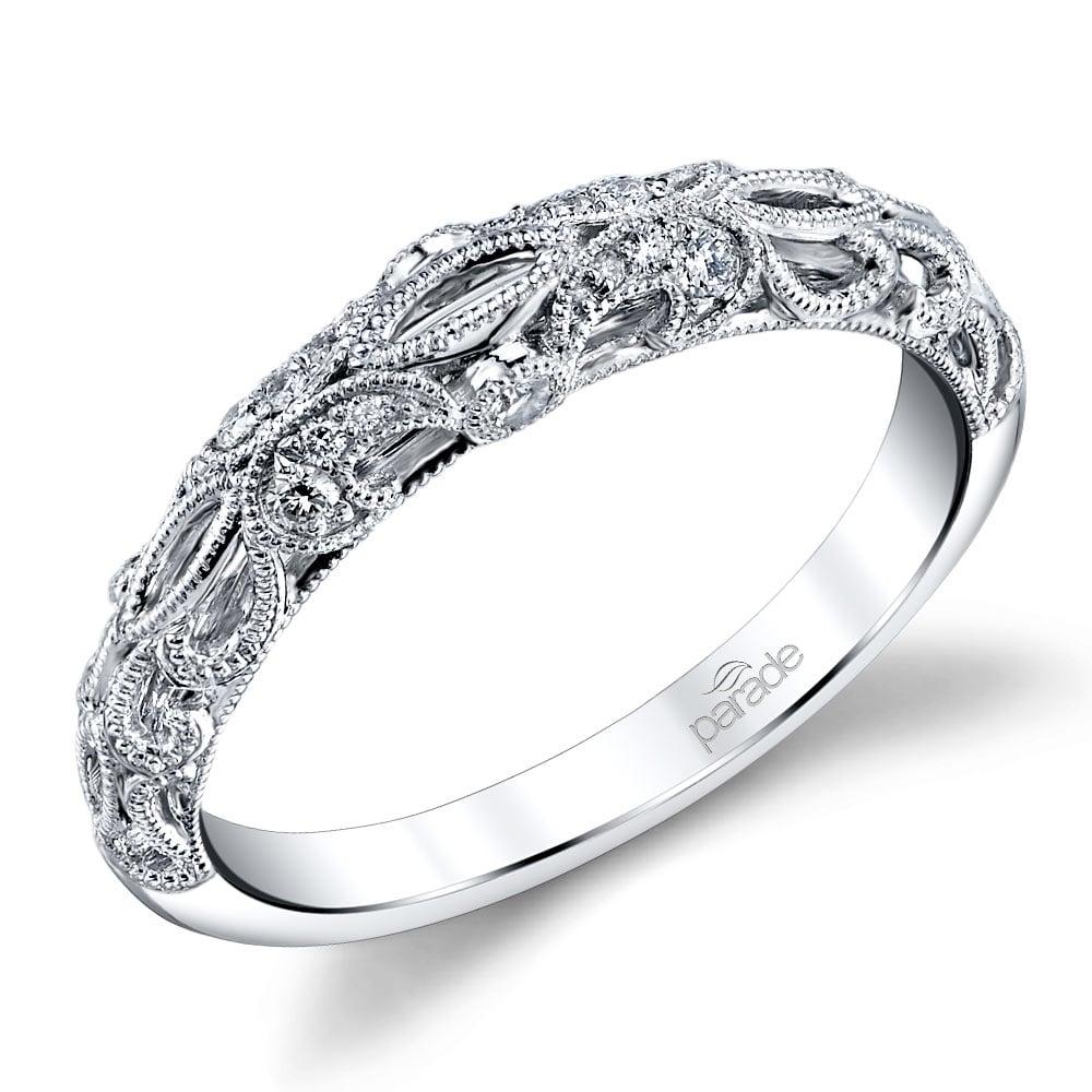 Antique Windowed Matching Diamond Wedding Ring In White