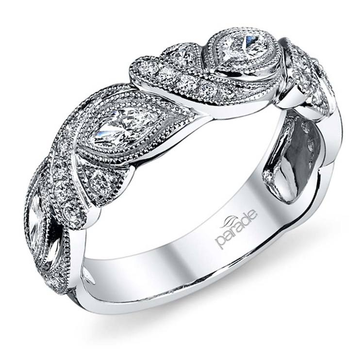 Art Deco Petal Matching Diamond Wedding Ring In White Gold By Parade | 01