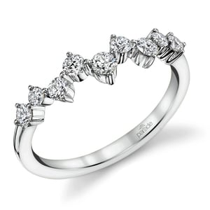 Asymmetric Chevron Diamond Wedding Ring in Platinum by Parade